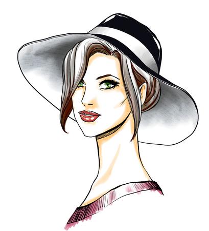 portrait Gros plan de la belle jeune femme. Smoky eyes maquillage et des lèvres sexuelles rouges. dessin Freehand avec aquarelle numérique. image Peinture