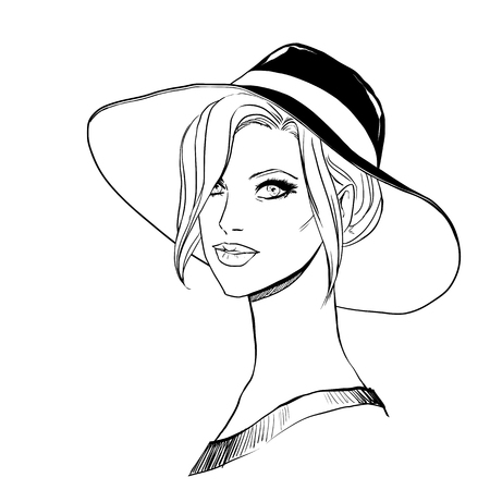 female face closeup: Closeup portrait of beautiful young woman in hat. Freehand drawing . Vector image
