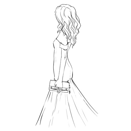 clutch: elegant woman at an evening dress holding a clutch. Girl stands back. Fashion illustration, drawing.    Black and white isolated Illustration