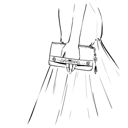 woman close up: elegant woman at an evening dress holding a clutch. Close up image with a hand and clutch.   Fashion illustration, drawing by lines, vector.