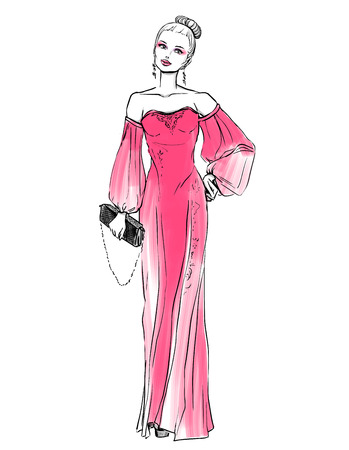 prom dress: Elegant woman in evening dress with a clutch. Freehand drawing on white background Illustration