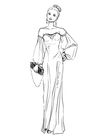 clutch: Elegant woman in evening dress with a clutch. Freehand drawing on white background Illustration