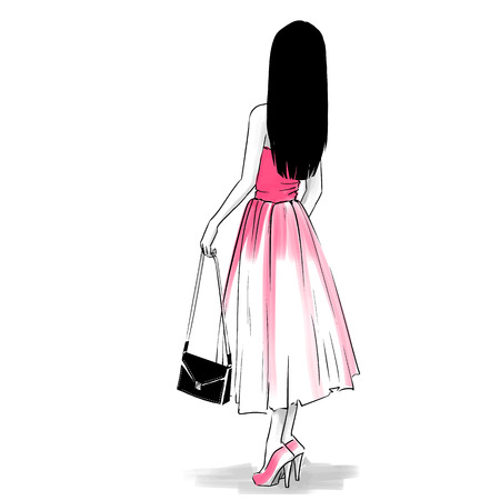 clutch: Elegant woman in evening dress with a clutch standing back. drawing on white background