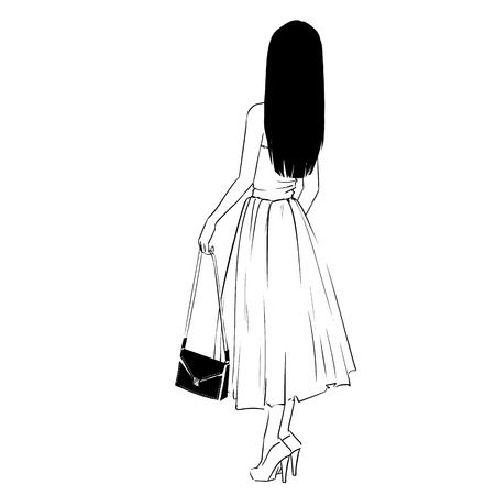 Elegant woman in evening dress with a clutch standing back. drawing on white background