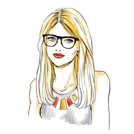 Retrato del primer de la mujer joven rubia en gafas. Maquillaje y los labios rojos sexuales. dibujo con acuarela digital. Ilustración de vector