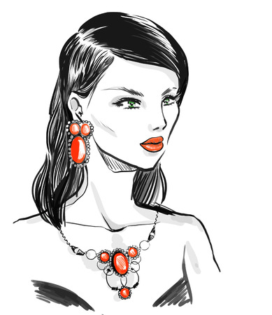 elegant woman wearing vintage jewelry  set with  natural stones.  Fashion illustration