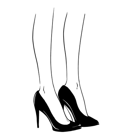 legs heels: Elegant woman legs wearing spectators with a high heels. Close up image of modern court shoes. Fashion illustration