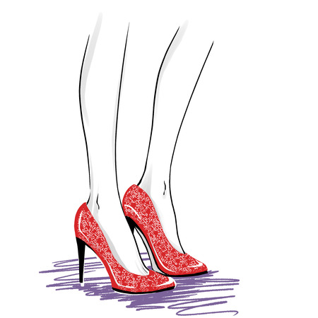 Elegant woman legs wearing spectators with a high heels. Close up image of modern court shoes. Fashion illustration