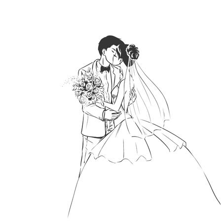 Art schets van het kussen jonge bruid en knappe bruidegom met een boeket en de sluier van de bruid. Bruiloft uitnodiging kaart. achtergrond met ruimte voor tekst.