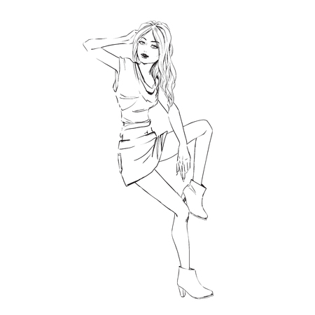 fashion sketch of elegant girl in summer dress. Isolated drawing on white background. Illustration