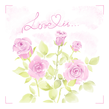 postal card: Greeting card with watercolor flowers drawing by hand. Postal card with light red roses. Stock Photo