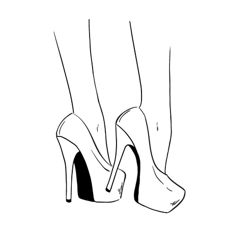shoes heels drawing. pair of elegant woman shoes. court shoes on high heels. hand drawing illustration with heels w