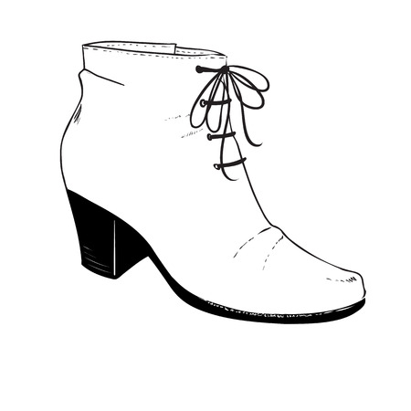 ankle: Fashion illustration with a pair of ankle shoes.  Autumnwinter shoes. Hand drawing vector image with contour of black lines Illustration