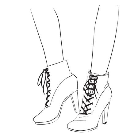 illustrating: Fashion illustration with a pair of ankle shoes.  Autumnwinter shoes. Hand drawing vector image with contour of black lines Illustration