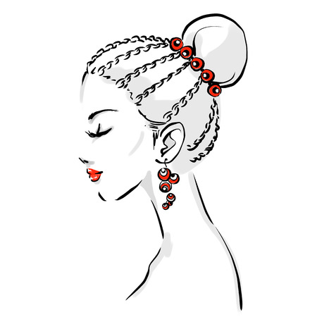 woman back of head: Beautiful woman face with elegant haircut. Portrait of young girl drawing by black lines. Fashion isolated vector illustration on white background. Stylish logo for a hairdresser salon, spa etc Illustration