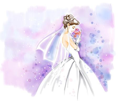 아름 다운 긴 웨딩 드레스에 꽃의 꽃다발 우아한 젊은 신부. 수채화 초대 카드. 자유형 수채화 그림.