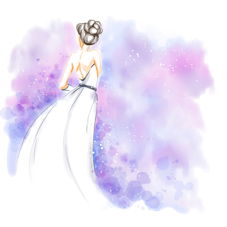 Elegant young bride with bouquet of flowers in beautiful long wedding dress. Watercolor invitation card. Freehand watercolour painting.