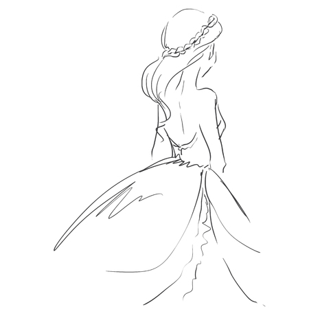 full length woman: Vector freehand art  with elegant young woman in evening dress. Standing girl in full length. Scribble type image drawing by black lines.