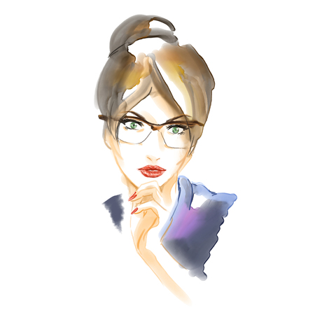Close-up portrait of young beutiful girl in glasses. Watercolor fashion illustration. Freehand drawing.