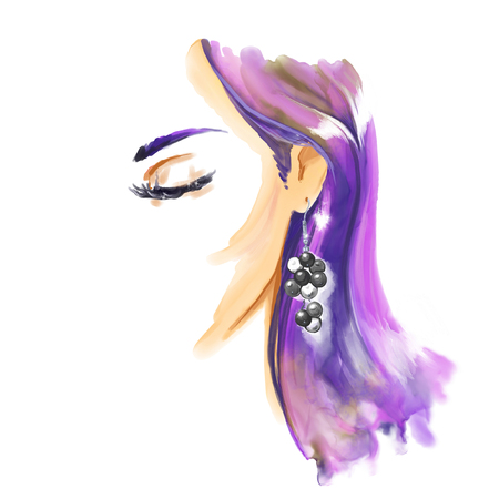 Fashion watercolor illustration with beautiful girl wearing big earrings. Freehand watercolour painting. Fashion illustration Фото со стока