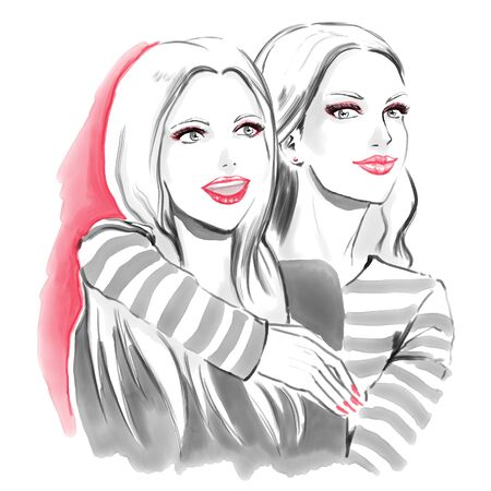 Watercolor fashion illustration with two young beautiful girls.  Red and black color on white background. Friendship and friends. Isolated on white. Freehand painting with two girlfriends.   Stock Photo