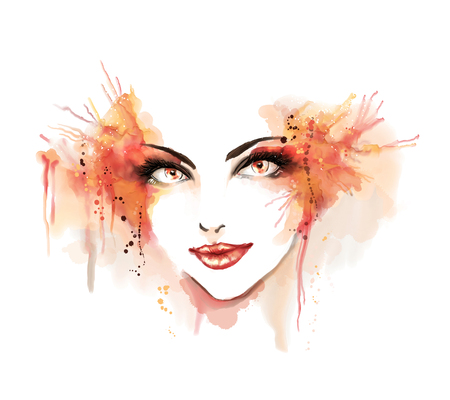 Watercolor fashion illustration. Beautiful portrait of girl. Freehand painting. Stock Photo