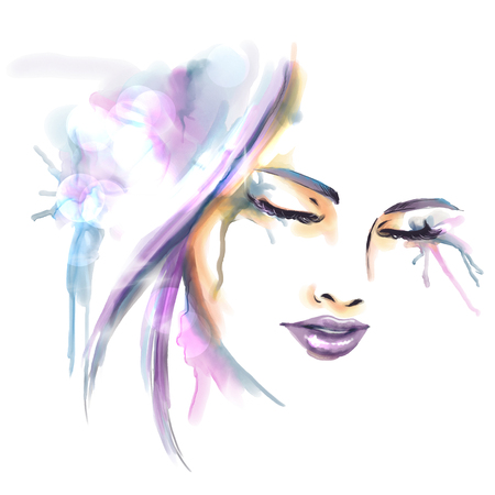 Watercolor fashion illustration. Beautiful portrait of girl drawing by hand.  Close up image with detailed lips and eyes. Splashing and splattering.