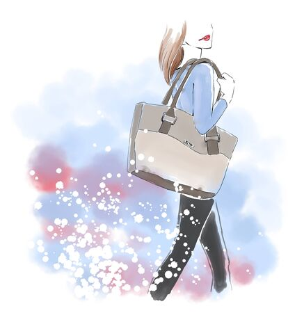 clutch bag: Watercolour standing woman with hand bag. Watercolor fashion illustration. Free hand painting card. Autumn look.