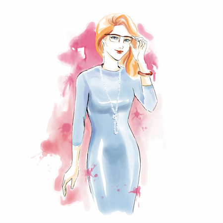 Watercolor fashion illustration with beautiful girl in office dress and glasses. Freehand painting card. Young manager in office dress.