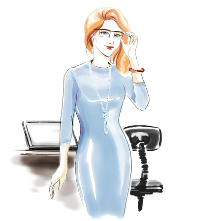 Watercolor fashion illustration with beautiful girl in office dress and glasses. Freehand painting card. Young manager in office dress.Freehand drawing with digital watercolor. Stock Photo