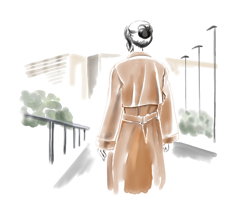 Girl in coat on street. Watercolor freehand painting. Watercolor illustration, autumn city Stock Photo