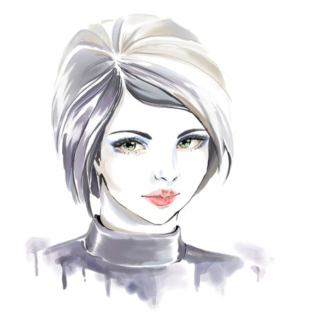 Watercolor fashion illustration. Beautiful portrait of girl drawing by hand.  Detailed lips and eyes.