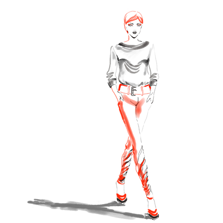 Fashion watercolor illustration with gorgeous girl. Watercolour hand painting in pastel colors.