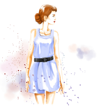 Fashion watercolor illustration with gorgeous girl. Watercolour hand painting in pastel colors. Summer nice look.