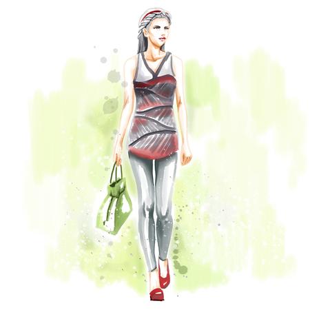 caras pintadas: ejemplo de la acuarela de la moda con estilo hermosa chica. pintura de la mano de acuarela en tonos pastel. mirada otoño.