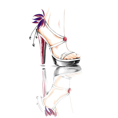 Fashion illustration. Freehand painting card. Elegant woman legs in shoes on high heels. Stok Fotoğraf