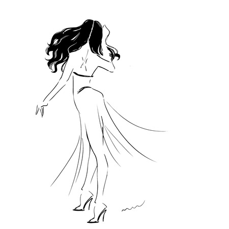 Silhouette of dancing woman wearing long dress. Girl danse passionate spanish flamenko. passion and movements. Vector hand drawing illustration. Illustration