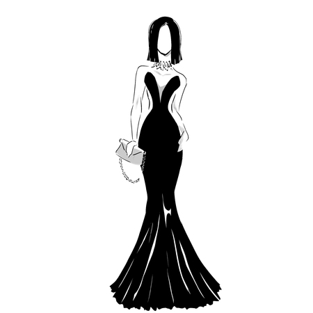 Line silhouette of young slender woman in long beautiful evening dress with clutch.