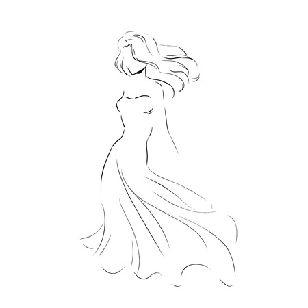 clutch: Line silhouette of young slender woman in long beautiful evening dress with clutch. Fashion hand drawing illustration. Monochrome sketch style. Vector outline picture.