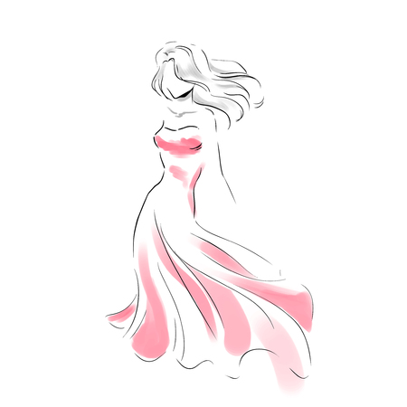 Line silhouette of young slender woman in long beautiful evening dress with clutch. Fashion hand drawing illustration in two colors: grey and red. Sketch style/ Vector outline picture.
