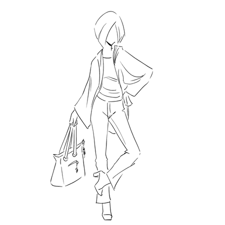 Line silhouette of young slender woman in spring clothes and jeans. Fashion hand drawing illustration. Monochrome style. Sketch type. Vector outline picture.