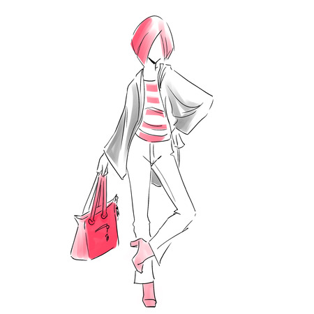 Line silhouette of young slender woman in spring clothes and jeans. Fashion hand drawing illustration in two colors: red and grey. Sketch style. Vector outline picture.