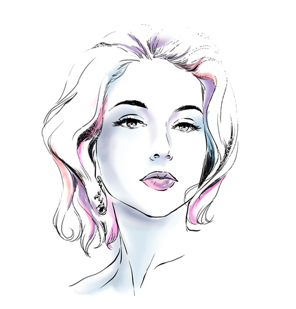 Watercolor portrait of fashion glamour woman. Young pretty girl with bright color background. Sketch, scribble type Stok Fotoğraf
