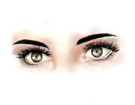 Close up with beautiful eyes with long eyelashes. Fashionable modern make up for green eyes. Fashion illustration, hand drawing Stock Photo