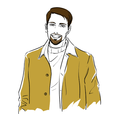 Handsome young stylish man with beard in autumn clothes. He is wearing warm winter coat.