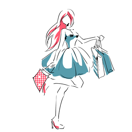 Outline of young girl in full length with shopping bags. Fashion color  illustration. Sketch, hand drawing. 向量圖像