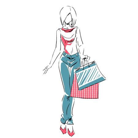 Entwurf des jungen Mädchens in voller Länge mit Einkaufstaschen. Mode Farbe Abbildung. Skizze, Handzeichnung.
