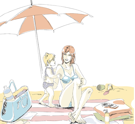 Mother and her little child have a rest on a sand beach. Mom and girl seems happy, sitting on beach mat under umbrella . Theirs bags, towels and flip-flops scattered all about. Vector hand drawing vector in pastel palette color. Isolated, white background.