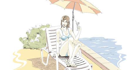Beautiful slender elegant girl in swimsuit has a rest on vacation. She lies on chaise lounge near pool and drink cocktail. Relaxing time on holiday. Vector hand drawing vector in pastel palette color. Isolated white background.