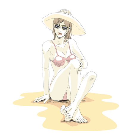 Young elegant girl in bikini, hat and sunglasses sits on sand beach and relax. Vector hand drawing  in pastel palette color. Isolated white background.
